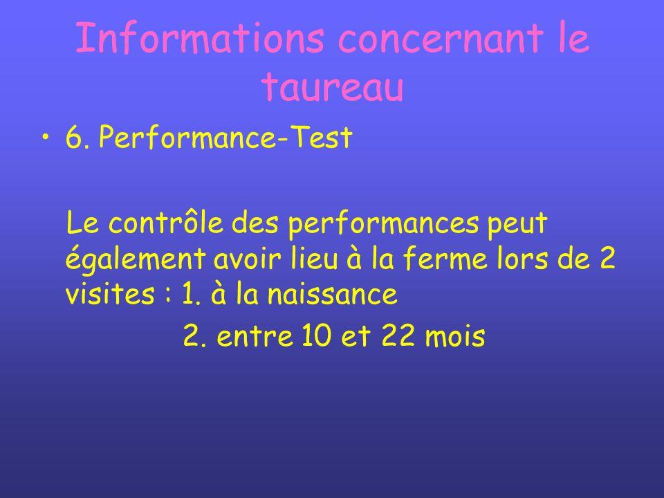 Informations concernant le taureau 6. Performance-Test Le contrôle des performances peut également avoir lieu à la ferme lors de 2 visites : 1. à la n