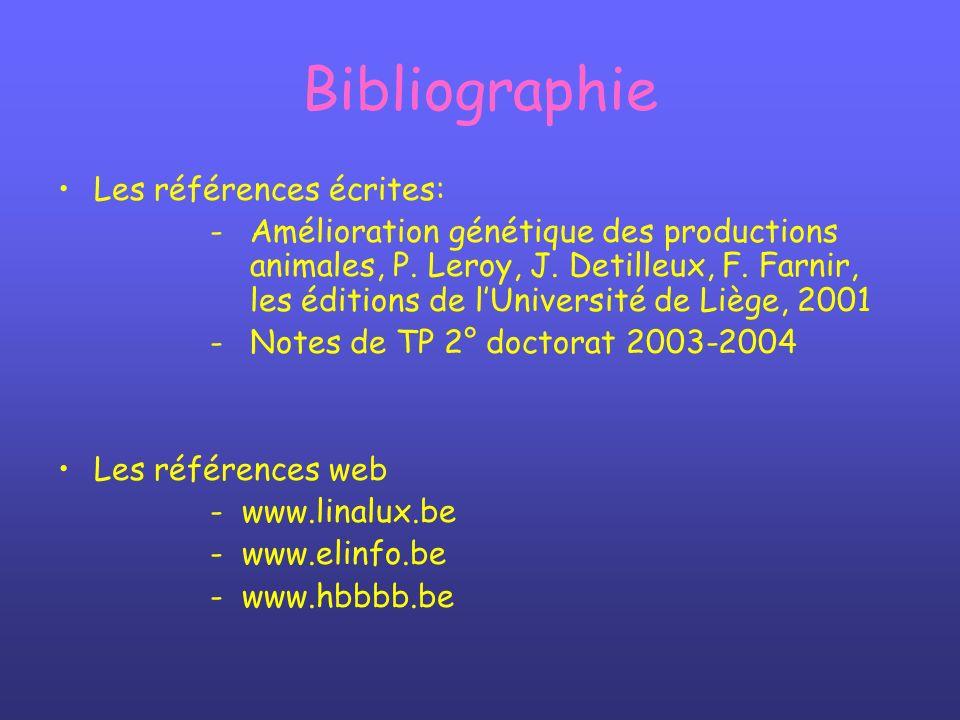 Bibliographie Les références écrites: - Amélioration génétique des productions animales, P. Leroy, J. Detilleux, F. Farnir, les éditions de lUniversit