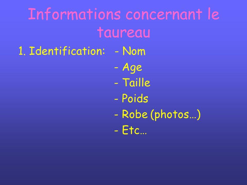 Informations concernant le taureau 1. Identification: - Nom - Age - Taille - Poids - Robe (photos…) - Etc…