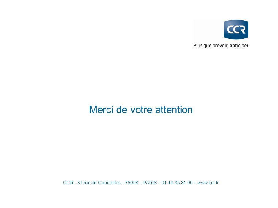 CCR - 31 rue de Courcelles – 75008 – PARIS – 01 44 35 31 00 – www.ccr.fr Merci de votre attention