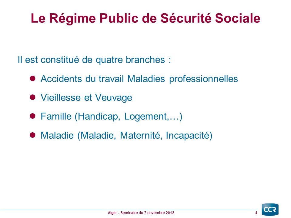 Le Régime Public de Sécurité Sociale Les quatre branches nont pas le même poids : Budget Résultat Accidents du travail : 9.0 -0.4 Vieillesse et Veuvage : 78.9 -1.9 Famille : 50.0 -1.3 Maladie : 121.0 -8.0 En Md 5 Alger - Séminaire du 7 novembre 2012