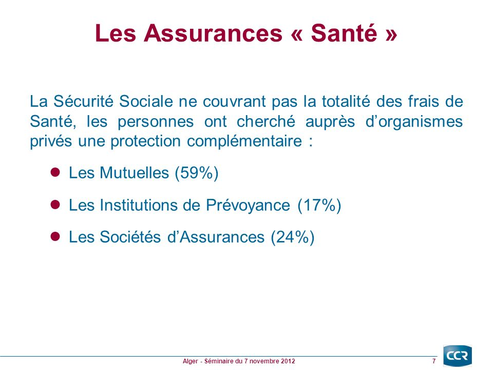 Les Assurances « Santé » La Sécurité Sociale ne couvrant pas la totalité des frais de Santé, les personnes ont cherché auprès dorganismes privés une protection complémentaire : Les Mutuelles (59%) Les Institutions de Prévoyance (17%) Les Sociétés dAssurances (24%) 7 Alger - Séminaire du 7 novembre 2012