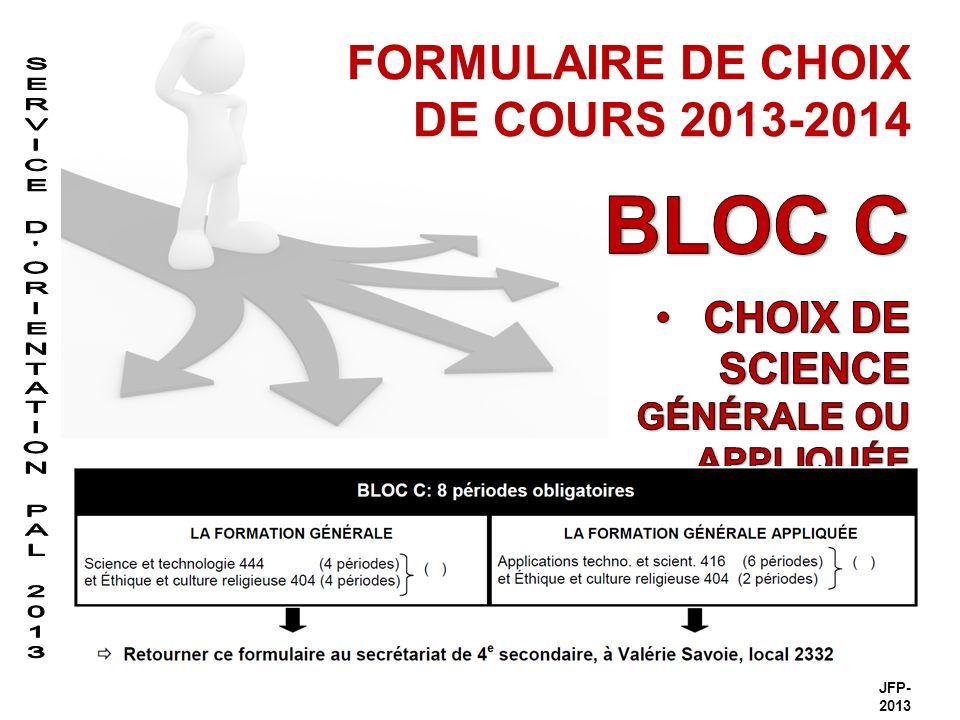 FORMULAIRE DE CHOIX DE COURS 2013-2014 JFP- 2013