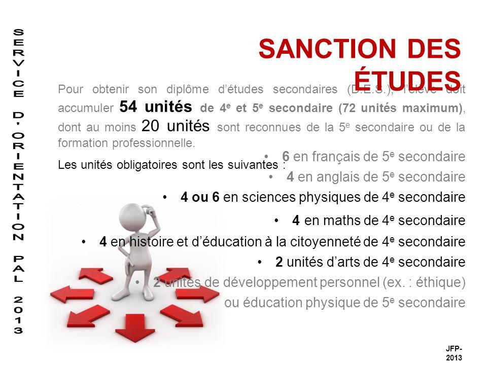 6 en français de 5 e secondaire 4 en anglais de 5 e secondaire 4 ou 6 en sciences physiques de 4 e secondaire 4 en maths de 4 e secondaire 4 en histoire et déducation à la citoyenneté de 4 e secondaire 2 unités darts de 4 e secondaire 2 unités de développement personnel (ex.