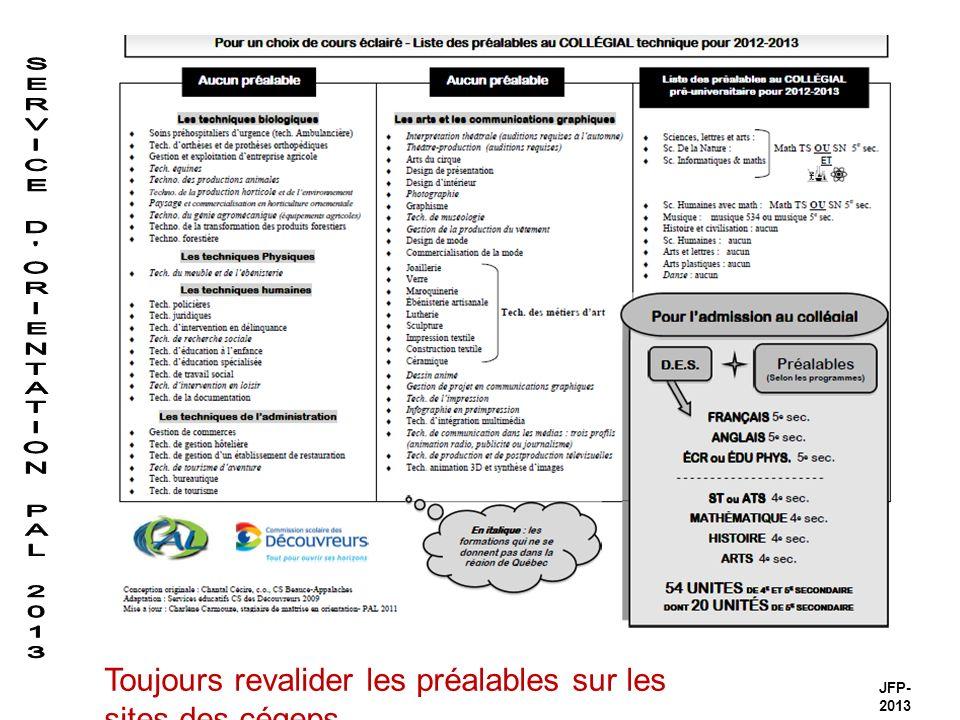 JFP- 2013 Toujours revalider les préalables sur les sites des cégeps
