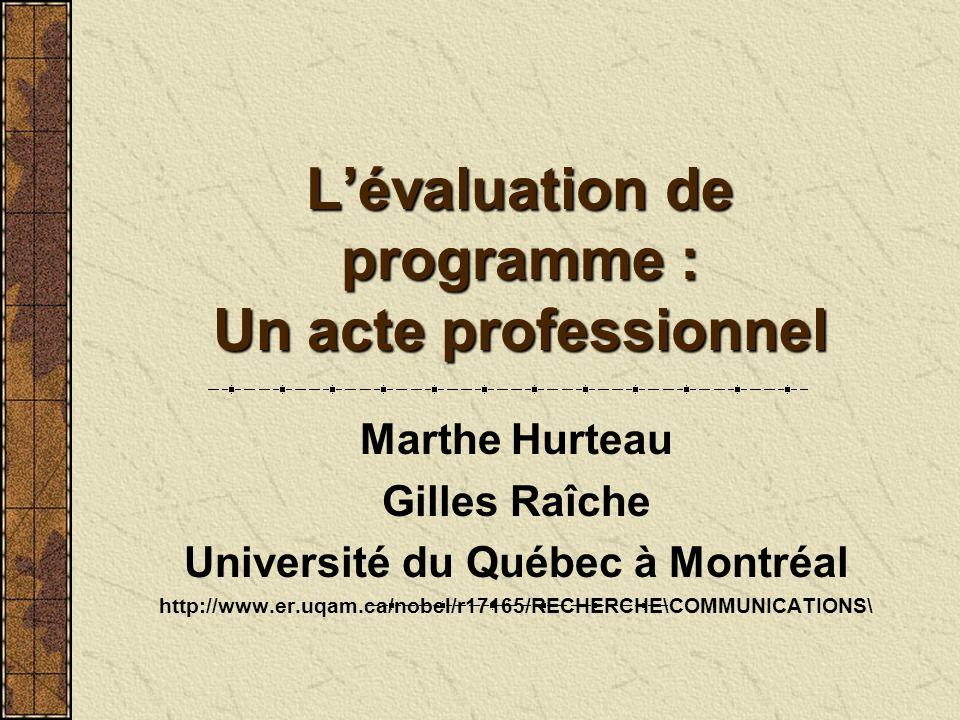 Lévaluation de programme : Un acte professionnel Marthe Hurteau Gilles Raîche Université du Québec à Montréal http://www.er.uqam.ca/nobel/r17165/RECHE
