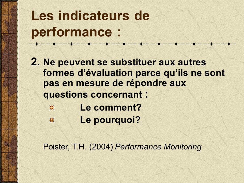 Les indicateurs de performance : 2. Ne peuvent se substituer aux autres formes dévaluation parce quils ne sont pas en mesure de répondre aux questions