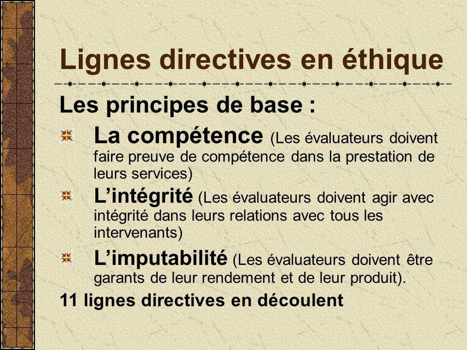 Lignes directives en éthique Les principes de base : La compétence (Les évaluateurs doivent faire preuve de compétence dans la prestation de leurs ser