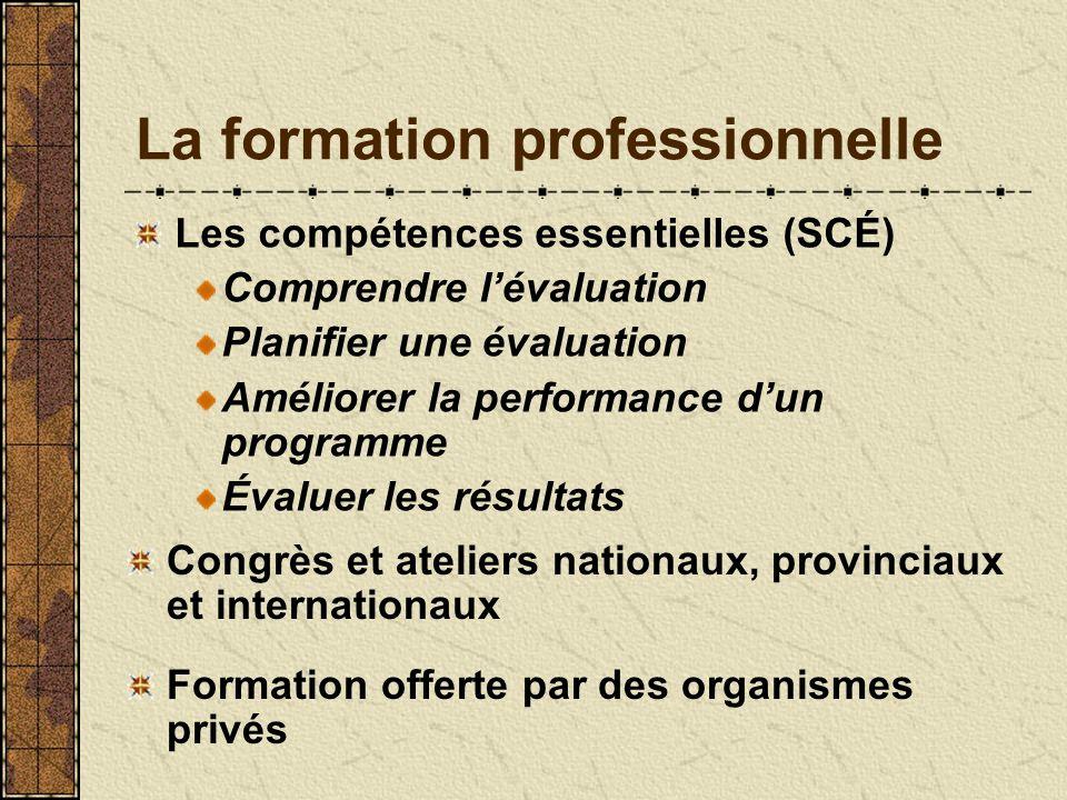La formation professionnelle Les compétences essentielles (SCÉ) Comprendre lévaluation Planifier une évaluation Améliorer la performance dun programme