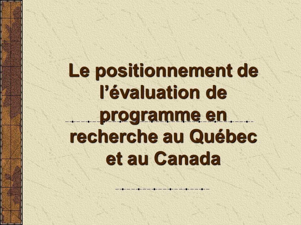 Le positionnement de lévaluation de programme en recherche au Québec et au Canada
