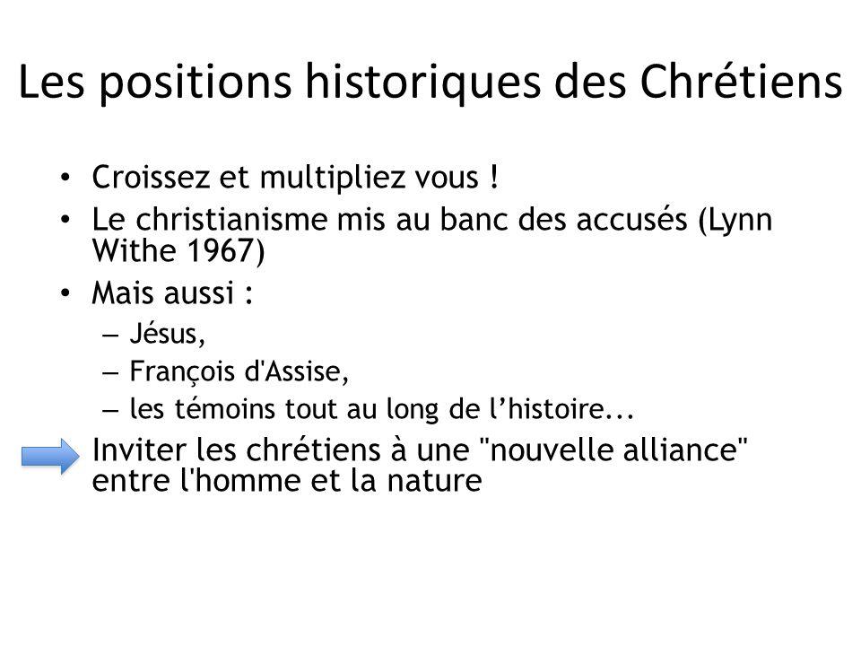 Les positions historiques des Chrétiens Croissez et multipliez vous ! Le christianisme mis au banc des accusés (Lynn Withe 1967) Mais aussi : – Jésus,
