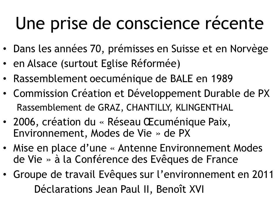 Une prise de conscience récente Dans les années 70, prémisses en Suisse et en Norvège en Alsace (surtout Eglise Réformée) Rassemblement oecuménique de