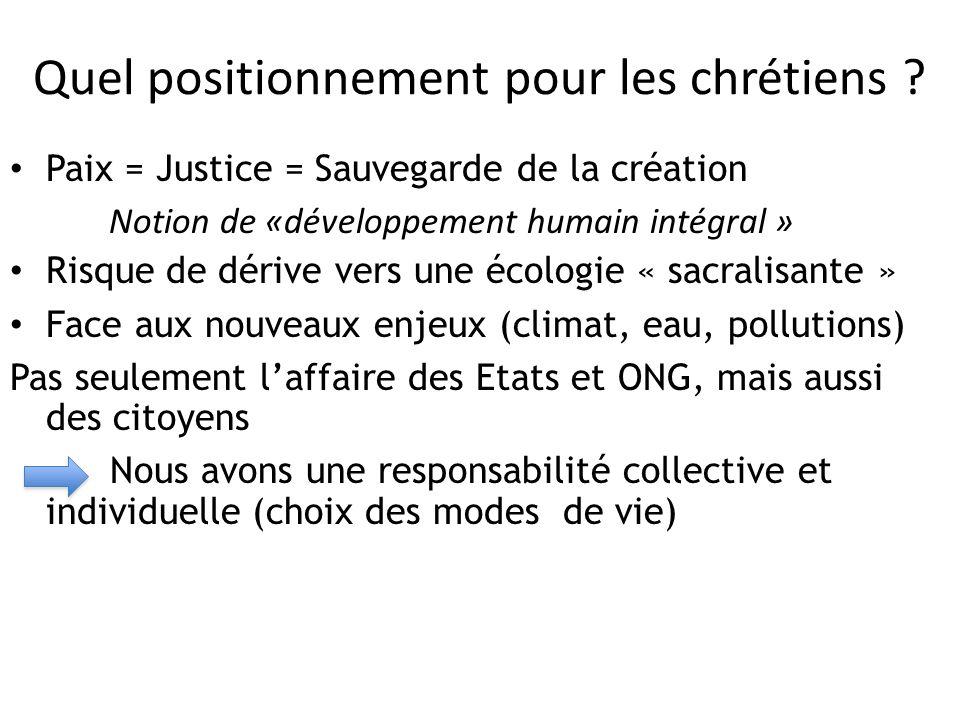 Quel positionnement pour les chrétiens ? Paix = Justice = Sauvegarde de la création Notion de «développement humain intégral » Risque de dérive vers u