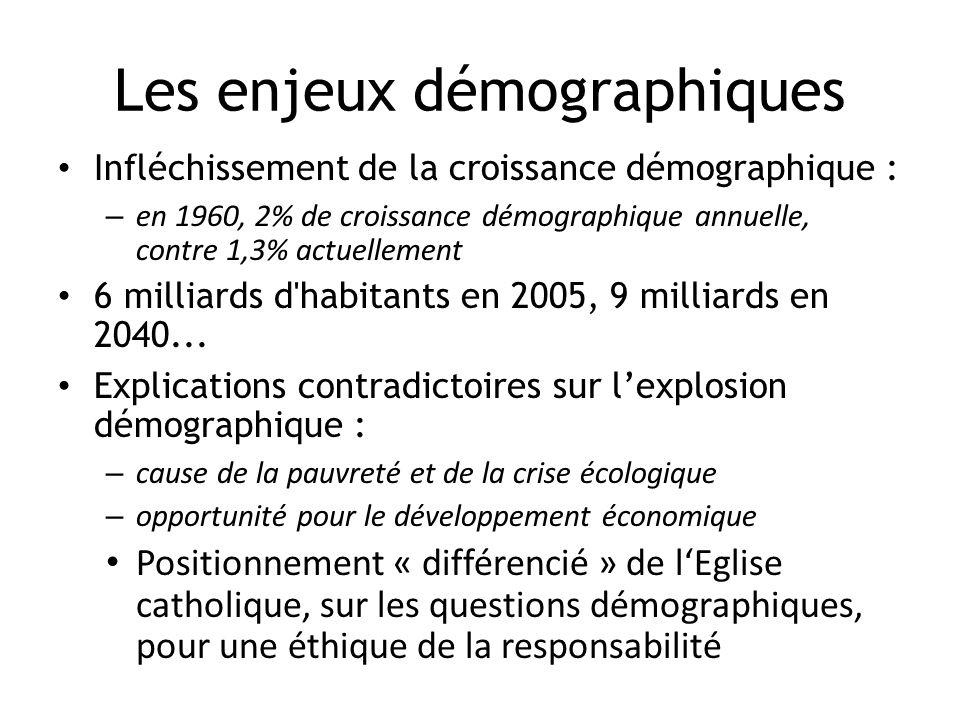 Les enjeux démographiques Infléchissement de la croissance démographique : – en 1960, 2% de croissance démographique annuelle, contre 1,3% actuellemen