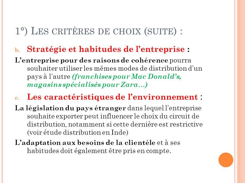 1°) L ES CRITÈRES DE CHOIX ( SUITE ) : b.