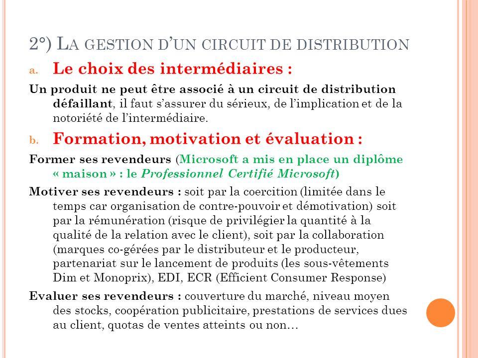 2°) L A GESTION D UN CIRCUIT DE DISTRIBUTION a.