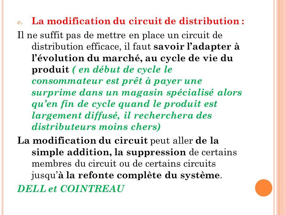 c. La modification du circuit de distribution : Il ne suffit pas de mettre en place un circuit de distribution efficace, il faut savoir ladapter à lév