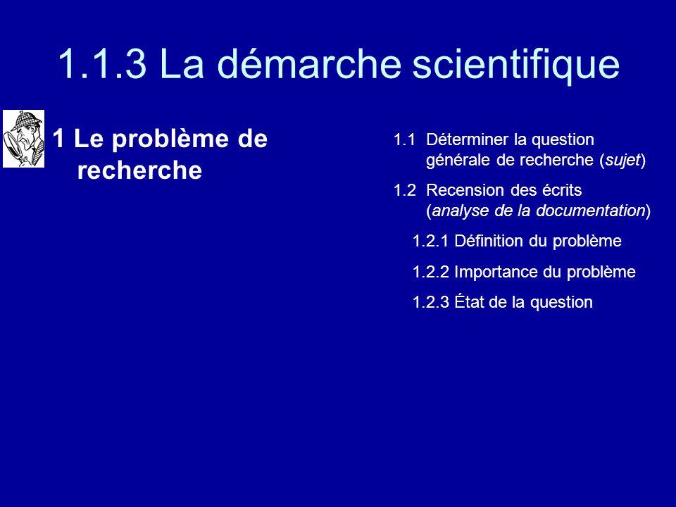 1.1.3 La démarche scientifique 1 Le problème de recherche 1.1 Déterminer la question générale de recherche (sujet) 1.2 Recension des écrits (analyse de la documentation) 1.2.1 Définition du problème 1.2.2 Importance du problème 1.2.3 État de la question 1.2.4 Formulation dune hypothèse ou dun objectif de recherche