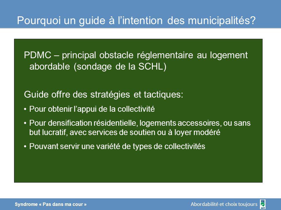 Abordabilité et choix toujours Syndrome « Pas dans ma cour » Pourquoi un guide à lintention des municipalités.