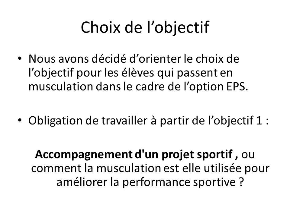 Choix de lobjectif Nous avons décidé dorienter le choix de lobjectif pour les élèves qui passent en musculation dans le cadre de loption EPS.