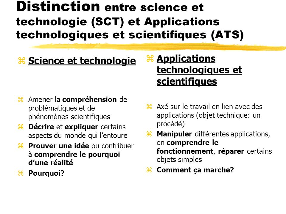 Distinction entre science et technologie (SCT) et Applications technologiques et scientifiques (ATS) zScience et technologie zAmener la compréhension