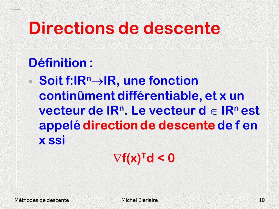 Méthodes de descenteMichel Bierlaire10 Directions de descente Définition : Soit f:IR n IR, une fonction continûment différentiable, et x un vecteur de