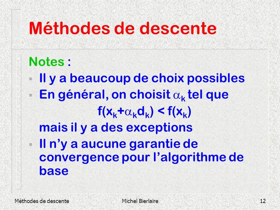 Méthodes de descenteMichel Bierlaire12 Méthodes de descente Notes : Il y a beaucoup de choix possibles En général, on choisit k tel que f(x k + k d k