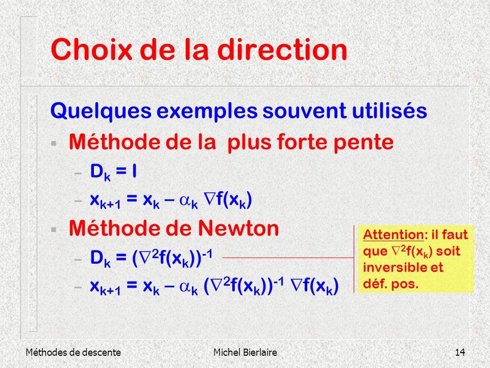 Méthodes de descenteMichel Bierlaire14 Choix de la direction Quelques exemples souvent utilisés Méthode de la plus forte pente – D k = I – x k+1 = x k