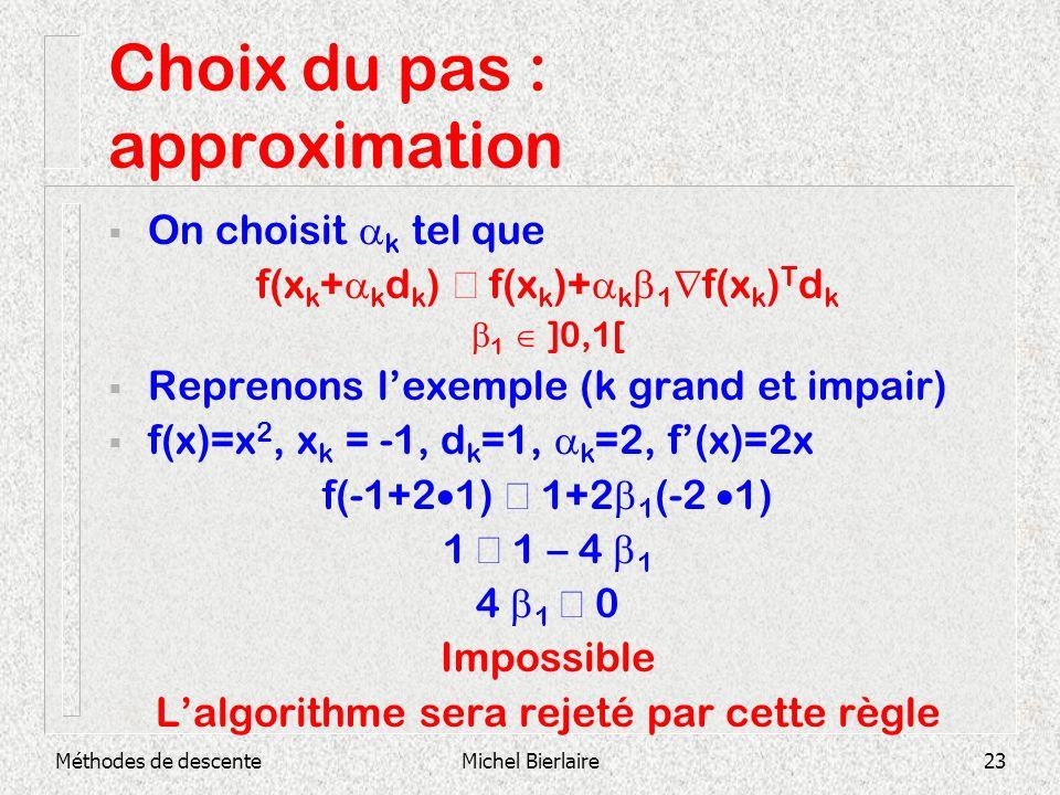 Méthodes de descenteMichel Bierlaire23 Choix du pas : approximation On choisit k tel que f(x k + k d k ) f(x k )+ k 1 f(x k ) T d k 1 ]0,1[ Reprenons
