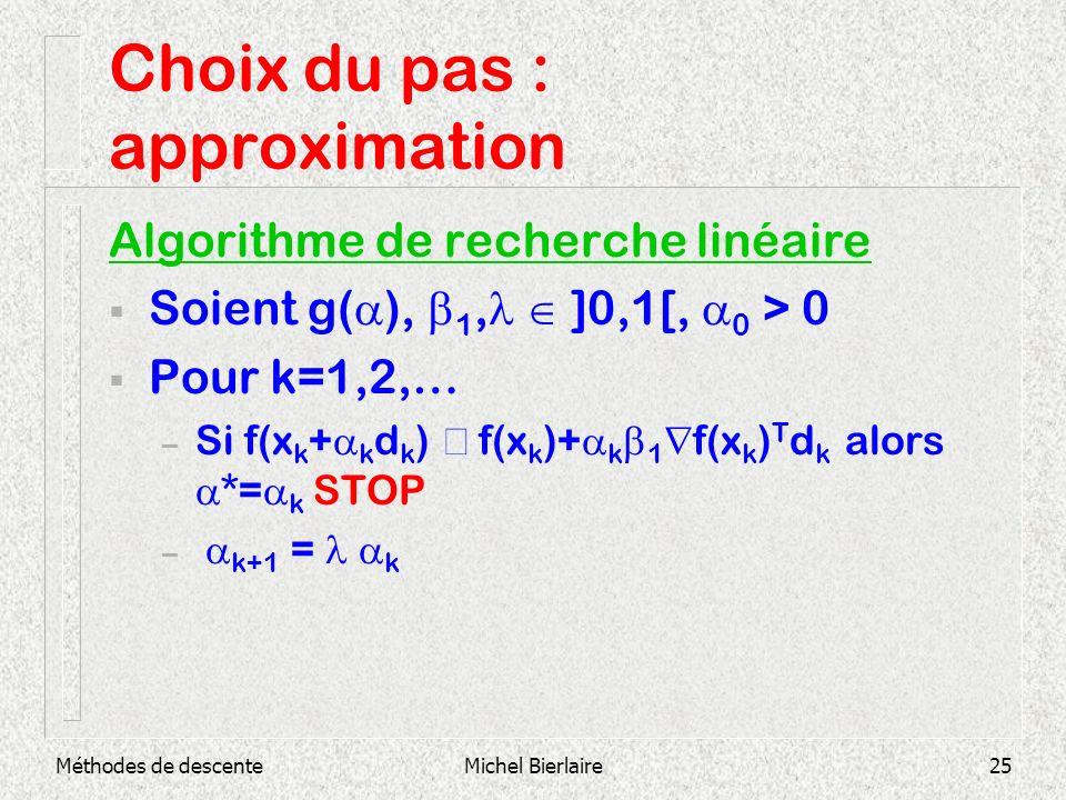 Méthodes de descenteMichel Bierlaire25 Choix du pas : approximation Algorithme de recherche linéaire Soient g( ), 1, ]0,1[, 0 > 0 Pour k=1,2,… – Si f(