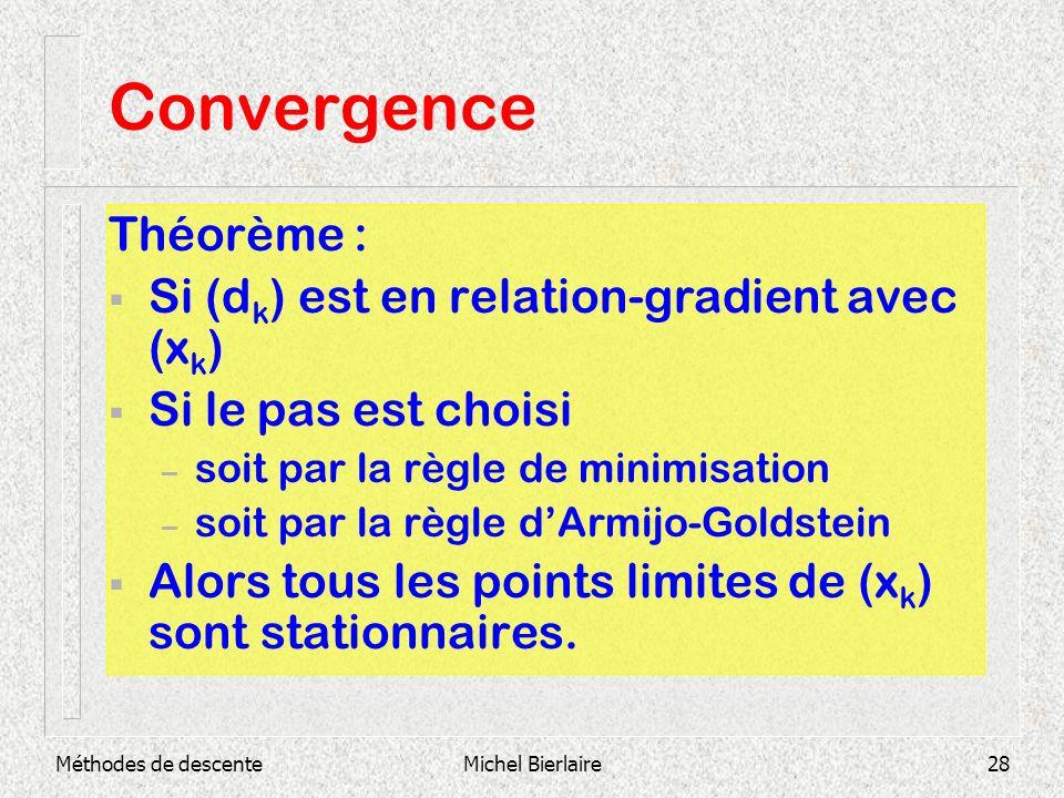 Méthodes de descenteMichel Bierlaire28 Convergence Théorème : Si (d k ) est en relation-gradient avec (x k ) Si le pas est choisi – soit par la règle