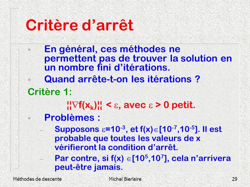 Méthodes de descenteMichel Bierlaire29 Critère darrêt En général, ces méthodes ne permettent pas de trouver la solution en un nombre fini ditérations.