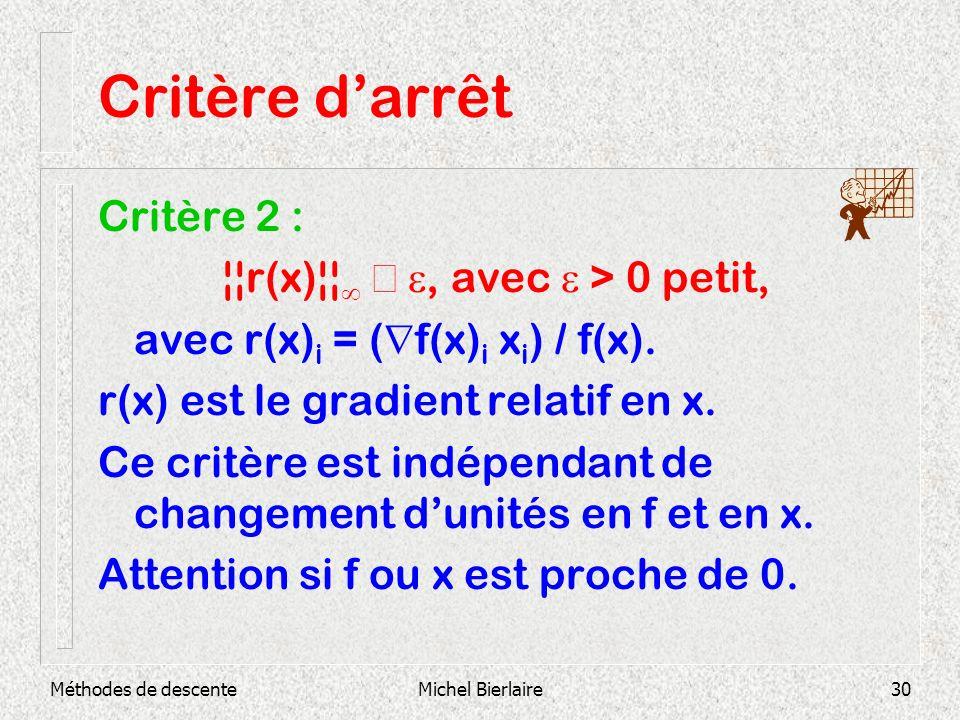 Méthodes de descenteMichel Bierlaire30 Critère darrêt Critère 2 : ¦¦r(x)¦¦, avec > 0 petit, avec r(x) i = ( f(x) i x i ) / f(x). r(x) est le gradient