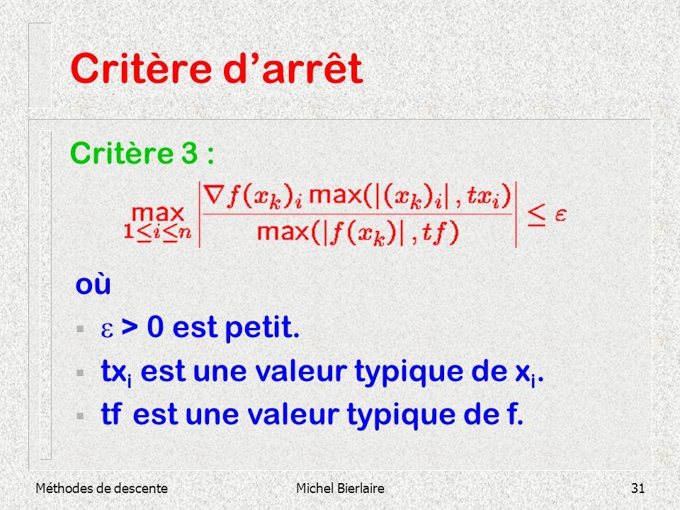 Méthodes de descenteMichel Bierlaire31 Critère darrêt Critère 3 : où > 0 est petit. tx i est une valeur typique de x i. tf est une valeur typique de f
