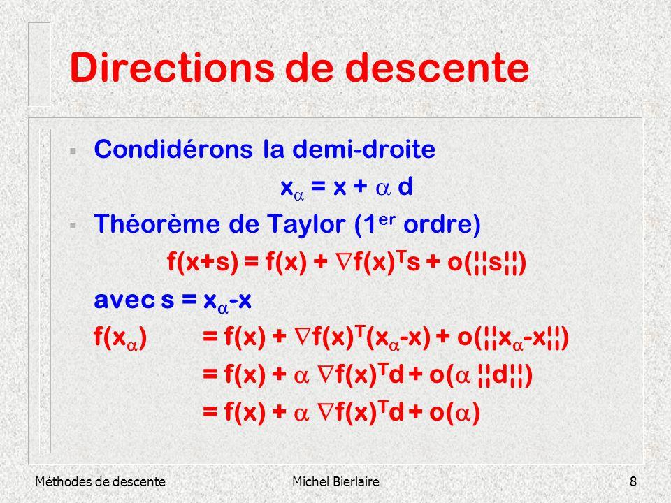 Méthodes de descenteMichel Bierlaire8 Directions de descente Condidérons la demi-droite x = x + d Théorème de Taylor (1 er ordre) f(x+s) = f(x) + f(x)