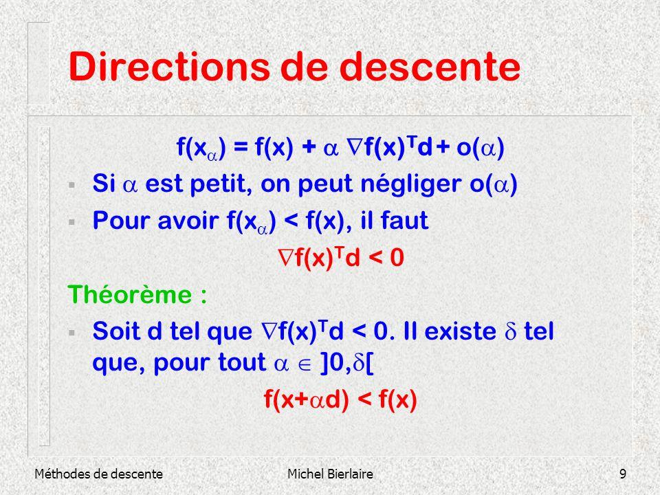 Méthodes de descenteMichel Bierlaire9 Directions de descente f(x ) = f(x) + f(x) T d + o( ) Si est petit, on peut négliger o( ) Pour avoir f(x ) < f(x