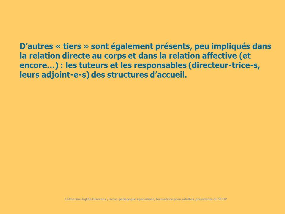 Dautres « tiers » sont également présents, peu impliqués dans la relation directe au corps et dans la relation affective (et encore…) : les tuteurs et les responsables (directeur-trice-s, leurs adjoint-e-s) des structures daccueil.