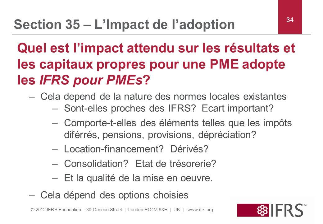 © 2012 IFRS Foundation 30 Cannon Street | London EC4M 6XH | UK | www.ifrs.org Section 35 – LImpact de ladoption Quel est limpact attendu sur les résultats et les capitaux propres pour une PME adopte les IFRS pour PMEs.