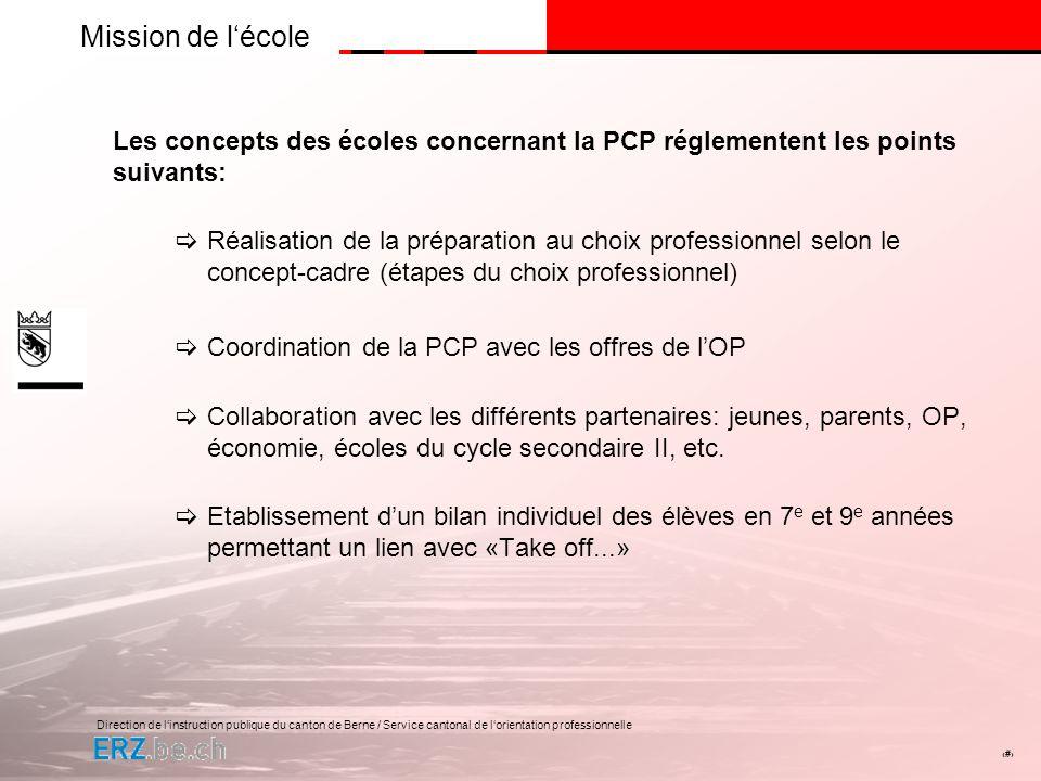 Direction de linstruction publique du canton de Berne / Service cantonal de lorientation professionnelle # Mission de lOP PCP à l écoleOffres de l OP Take off...
