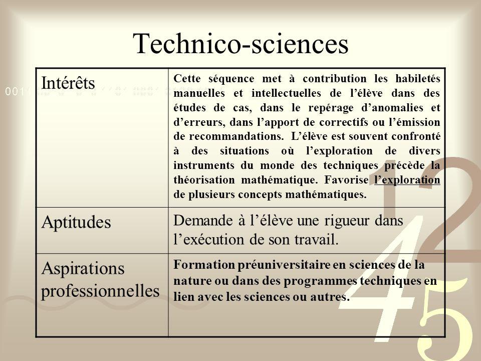 Technico-sciences Intérêts Cette séquence met à contribution les habiletés manuelles et intellectuelles de lélève dans des études de cas, dans le repé