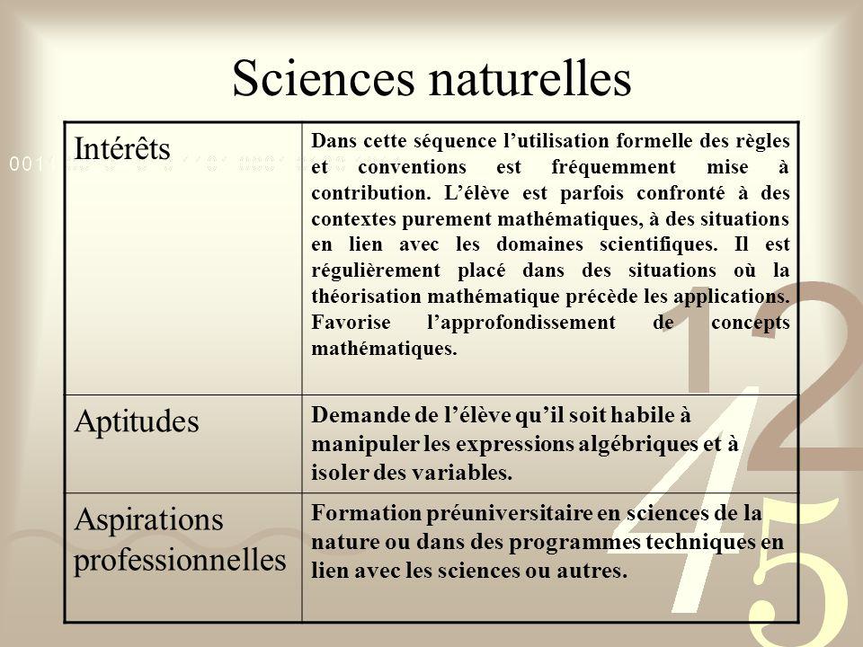 Sciences naturelles Intérêts Dans cette séquence lutilisation formelle des règles et conventions est fréquemment mise à contribution. Lélève est parfo