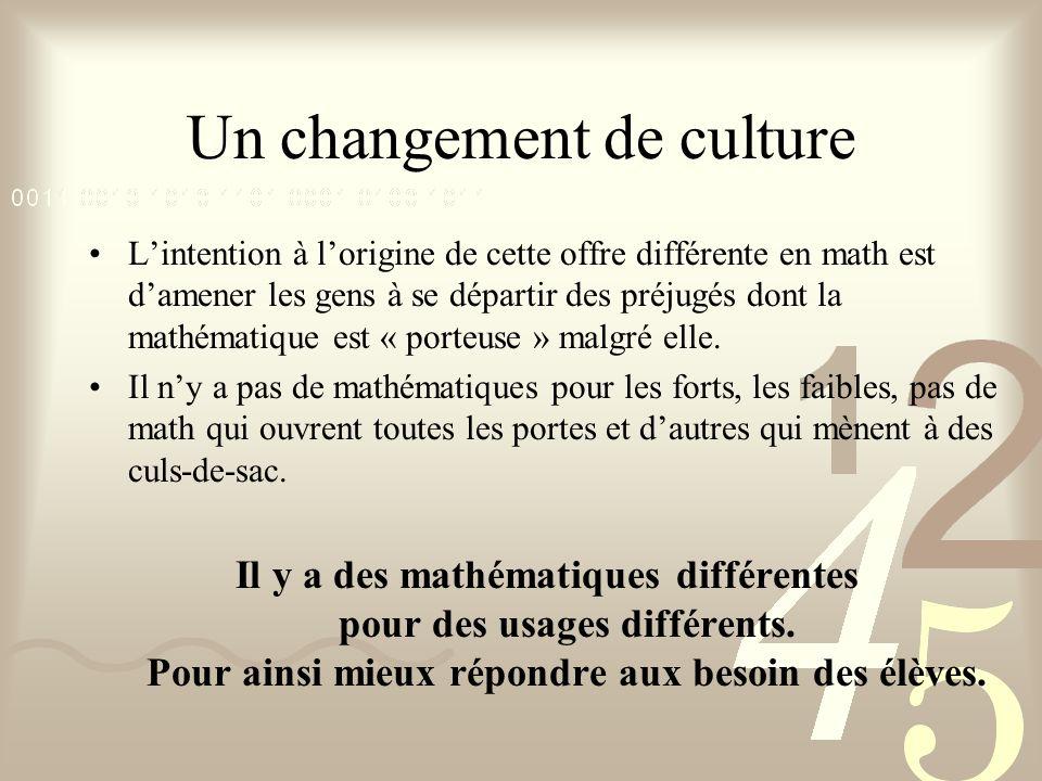 Un changement de culture Lintention à lorigine de cette offre différente en math est damener les gens à se départir des préjugés dont la mathématique
