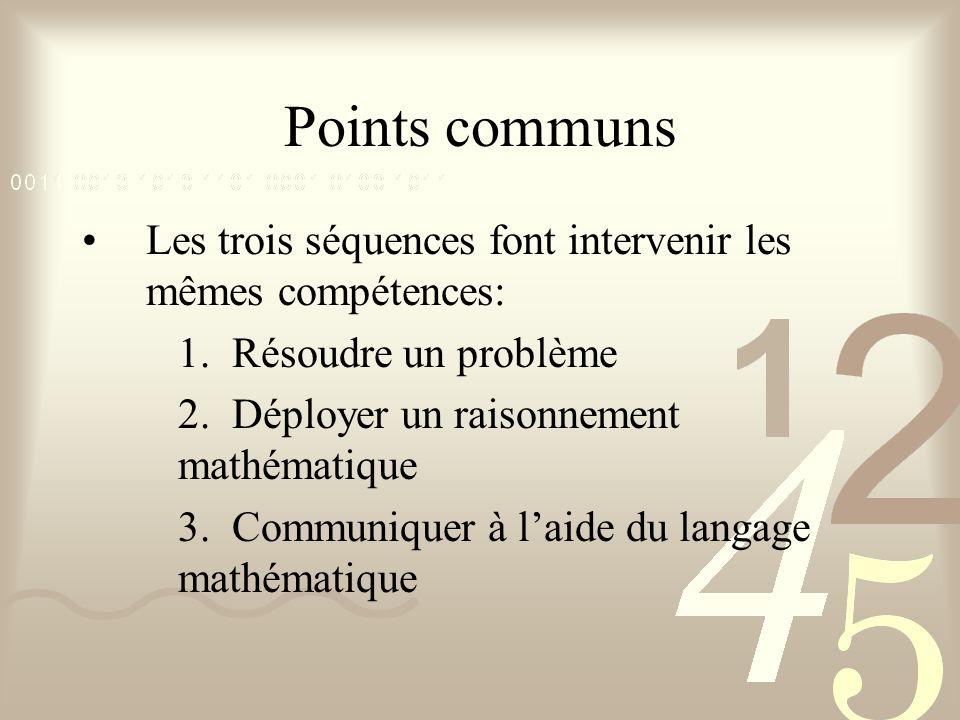 Points communs Les trois séquences font intervenir les mêmes compétences: 1. Résoudre un problème 2. Déployer un raisonnement mathématique 3. Communiq