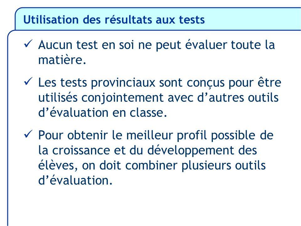 Utilisation des résultats aux tests Aucun test en soi ne peut évaluer toute la matière. Les tests provinciaux sont conçus pour être utilisés conjointe