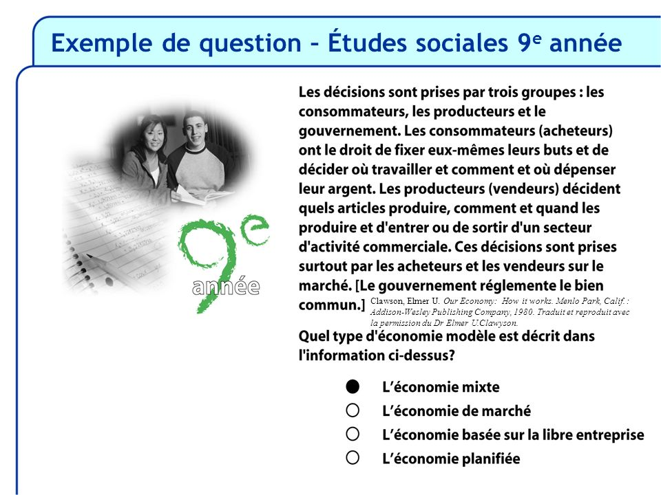 Exemple de question – Études sociales 9 e année Clawson, Elmer U. Our Economy: How it works. Menlo Park, Calif. : Addison-Wesley Publishing Company, 1