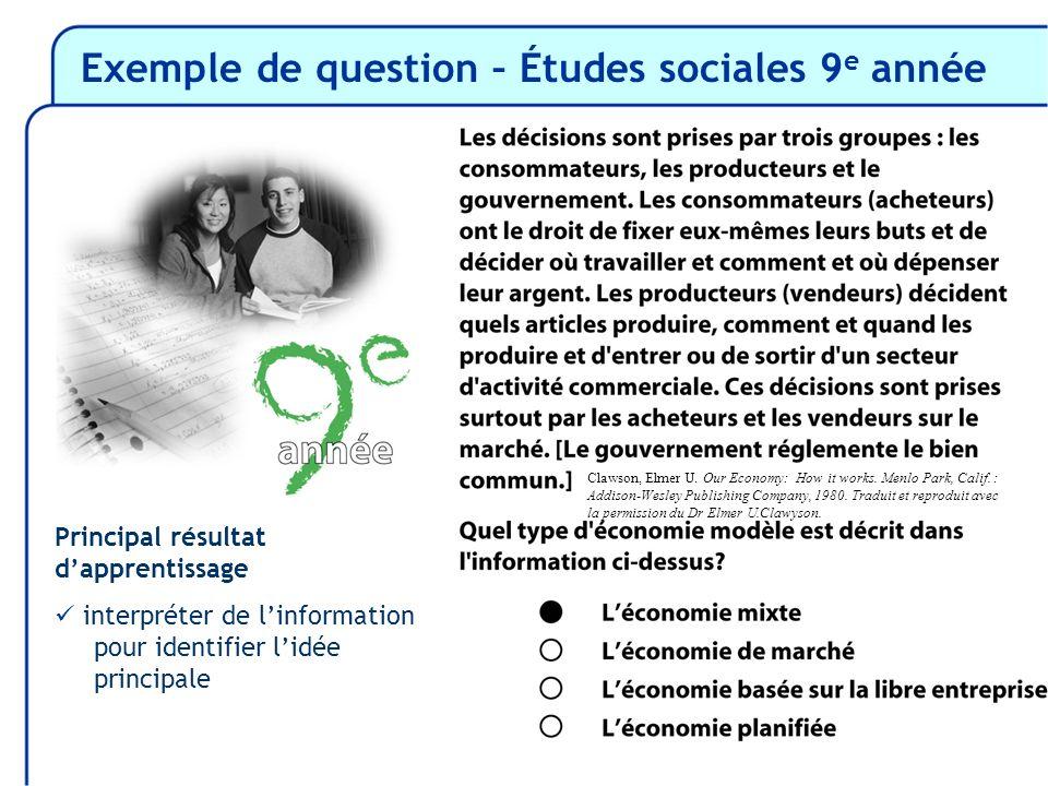 Exemple de question – Études sociales 9 e année Principal résultat dapprentissage interpréter de linformation pour identifier lidée principale Clawson