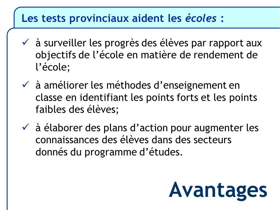 Les tests provinciaux aident les écoles : à surveiller les progrès des élèves par rapport aux objectifs de lécole en matière de rendement de lécole; à