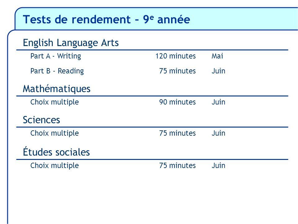 Tests de rendement – 9 e année Part A - Writing120 minutesMai Part B - ReadingJuin Mathématiques Choix multipleJuin 75 minutes 90 minutes Sciences Cho