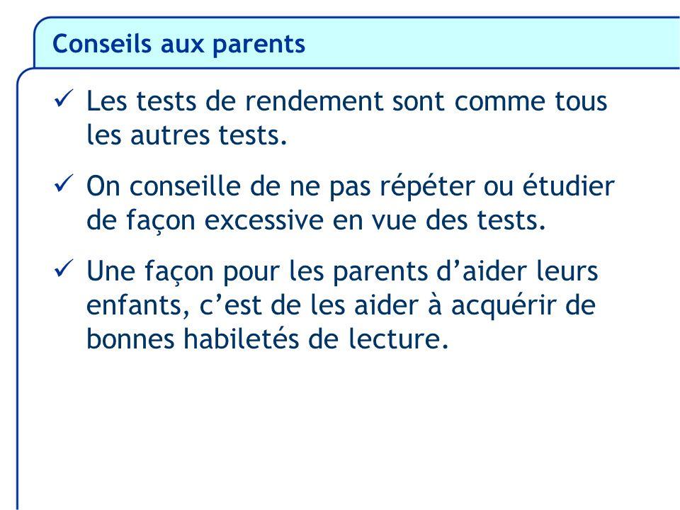 Conseils aux parents Les tests de rendement sont comme tous les autres tests. On conseille de ne pas répéter ou étudier de façon excessive en vue des