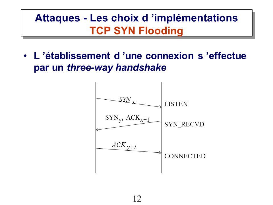 12 Attaques - Les choix d implémentations TCP SYN Flooding L établissement d une connexion s effectue par un three-way handshake SYN x SYN y, ACK x+1 ACK y+1 LISTEN SYN_RECVD CONNECTED